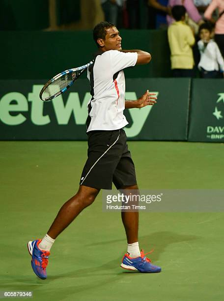 Indian Davis Cup player Ramkumar Ramanathan during the practice session at DLTA for their tie against Spain for Davis Cup on September 15 2016 in New...