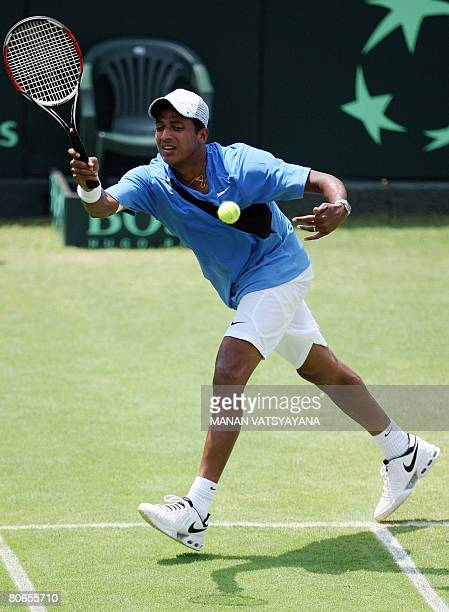 Indian Davis Cup tennis player Mahesh Bhupati returns a shot during the Asia/Oceania Zone Group I Davis Cup second round reversesingles match against...