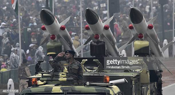 Indian Defence ammunition move past during the ceremony of 66th Republic Day of India at Rajpath on January 26 2015 in New Delhi India President of...