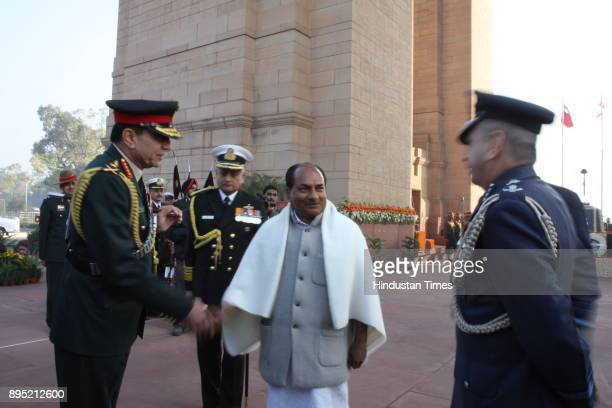 Indian Defence Minister AK Antony along with the Chiefs of Defence services pay respect to Indian soldiers killed during the 1971 IndoPakistan war on...