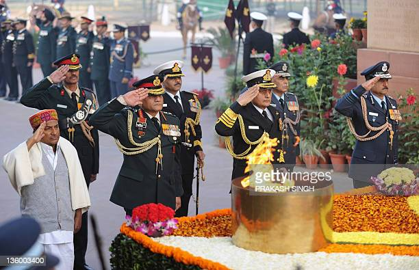 Indian Defence Minister AK Antony India Army Chief VK Singh Indian Navy Chief Admiral Nirmal Verma and Indian Air Force Chief Air Chief Marshal NAK...