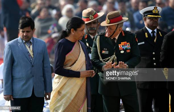 Indian Defence Minister Nirmala Sitharaman talks to Indian Army chief Bipin Rawat at Raj Ghat the memorial for Indian independence icon Mahatama...