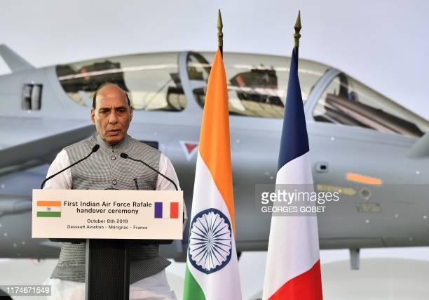 Indian Defence minister Rajnath Singh speaks during the ceremony marking the delivery of the first of 36 Rafale fighter jets destined for India on...