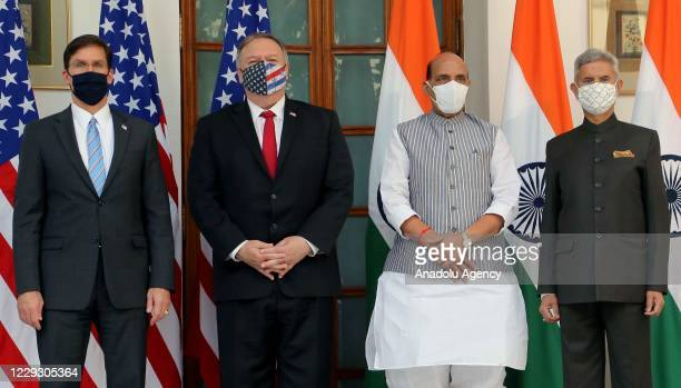 Indian Defence Minister Rajnath Singh , U.S. Secretary of State Mike Pompeo , U.S. Secretary of Defence Mark Esper and Indian Foreign Minister...