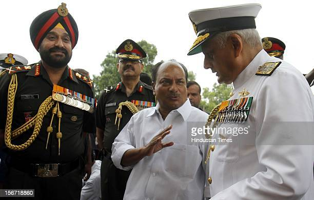 NEW DELHI INDIA JULY 26 Indian Defense Minister A K Antony along with Army Chief Gen Bikram Singh and Naval Chief Admiral Nirmal Kumar Verma after...