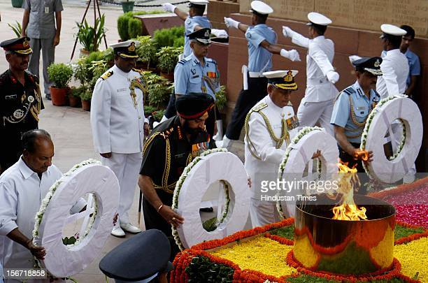 NEW DELHI INDIA JULY 26 Indian Defense Minister A K Antony along with three Service Chiefs Gen Bikram Singh Admiral Nirmal Kumar Verma and Air Chief...