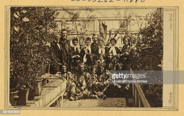 Indian delegation in the White House Conservatory during the Civil War with JG Nicolay President Abraham Lincoln's secretary standing in centre back...