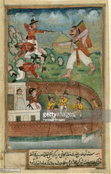 Indian demons attacking fort defended by european troops c 1790 From a private collection Artist Indian Art