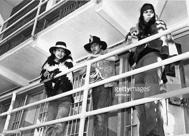 Indian demonstrators inspect prison galleries in main cell block on Alcatraz Island after this former Federal peniteniary was invaded by Indians for...