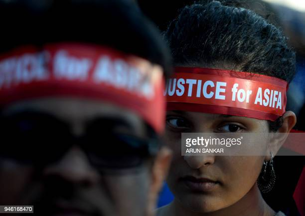 TOPSHOT Indian demonstrators take part in a protest in Chennai on April 14 2018 over the gang rape and murder of an eightyearold girl in northern...
