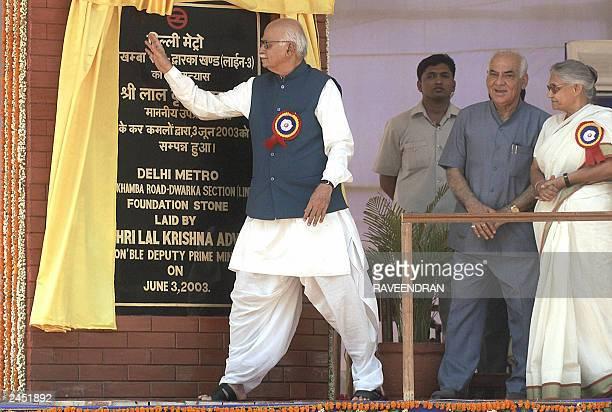 Indian Deputy Prime Minister and Home Minister Lal Krishna Advani unveils the foundation stone of Barakhamba -Dwarka Delhi Metro Rail as Delhi Chief...