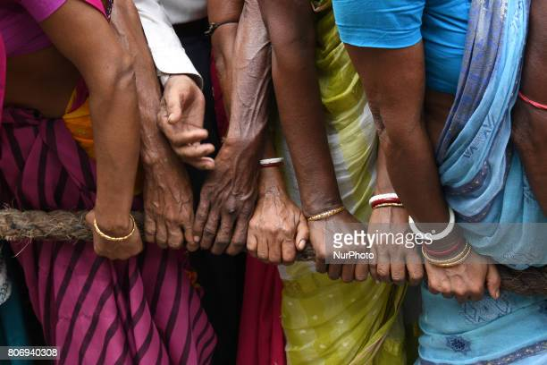 Indian Devotees devotees pulling the rath on the last day of the week long Rathyatra celebration of Lode Jagannath's Rath Yatra on July 032107 in...