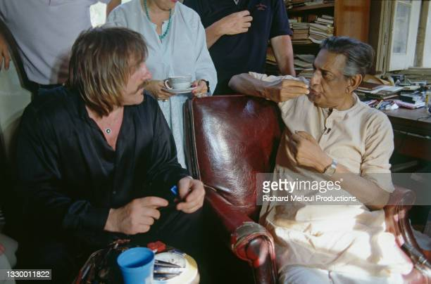 Indian director Satyajit Ray with the French actor Gerard Depardieu.