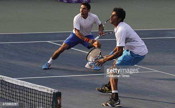 Indian doubles pair of Saketh Myneni and Sanam Singh in action against pair of Adrián Menéndez-Maceiras of Spain and Aleksandr Nedovyesov of...