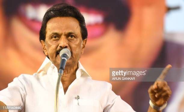 Indian Dravida Munnetra Kazhagam party president M. K. Stalin gestures as he speaks during an election rally for India's general election in...