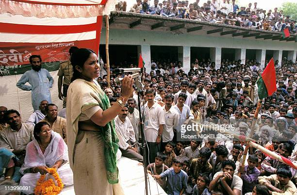 Indian elections Phoolan Devi on campaing in Adalahat In India On April 15 1996Phoolan Devi the 'bandit queen'