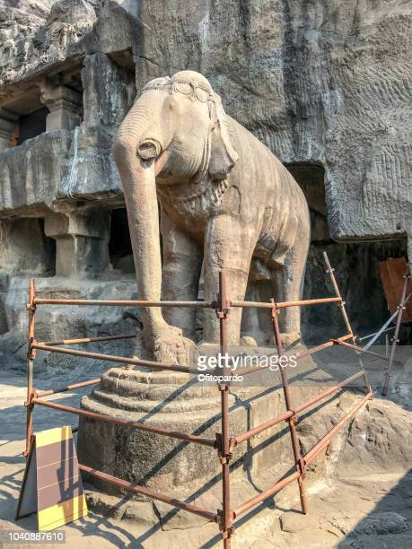 indian elephant carved in stone at ellora caves, india - ellora stock pictures, royalty-free photos & images