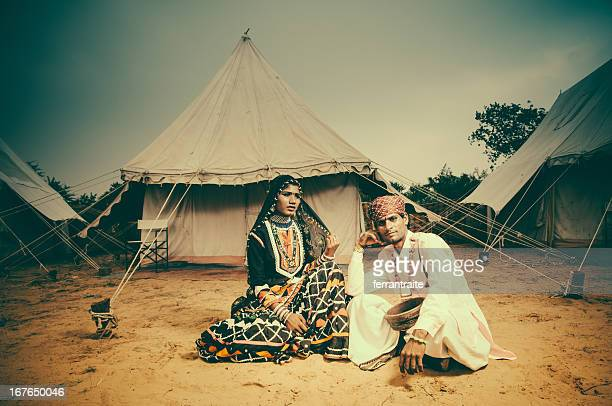 Indian Entertainers by their tent