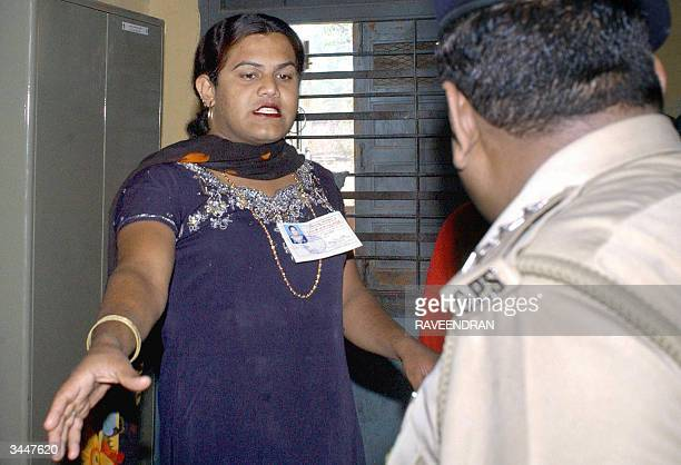 Indian eunuch Imran Ajmeri a parliamentary candidate contesting against Indian Deputy Prime Minister Lal Krishna Advani arrives at a polling station...
