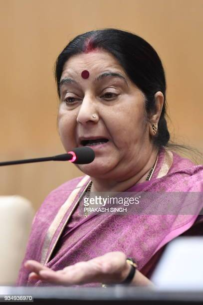 Indian External Affairs Minister Shushma Swaraj addresses a press conference in New Delhi on March 20 2018 The bodies of 39 Indian construction...