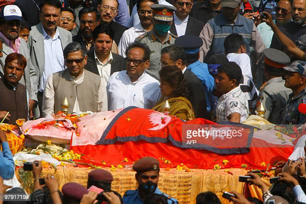 Indian External affairs Minister SM Krishna pays his last respects to Nepali Congress party president and former prime minister Girija Prasad Koirala...