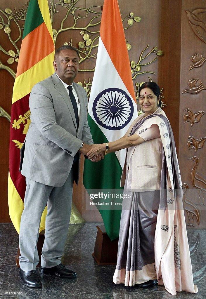External Affairs Minister Sushma Swaraj Meets Sri Lankan Foreign Minister Mangala Samaraweera
