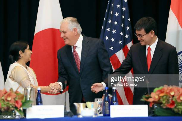 Indian External Affairs Minister Sushma Swaraj US Secretary of State Rex Tillerson and Japanese Foreign Minister Taro Kono attend a meeting on...