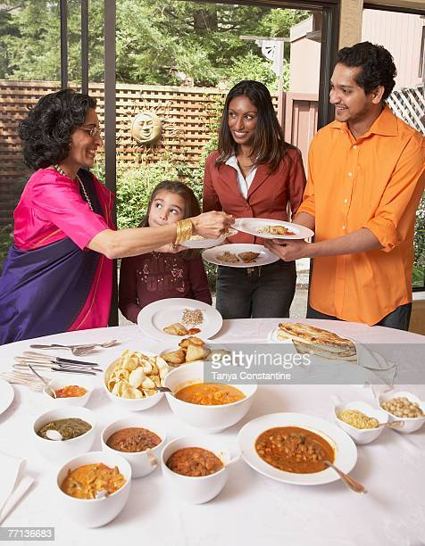 Indian family at dinner table