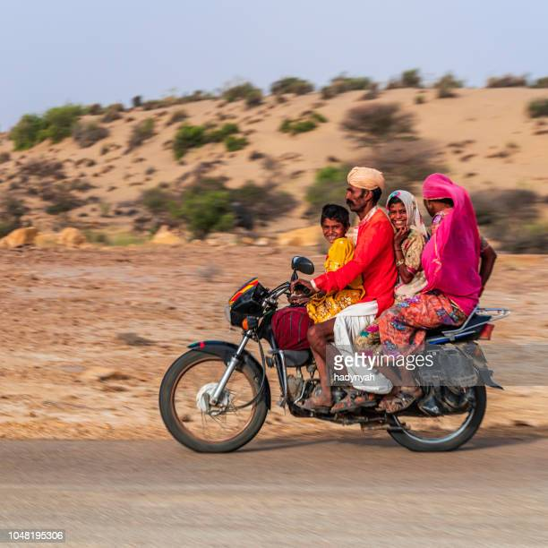 Indian family on motorcycle, Rajasthan, India