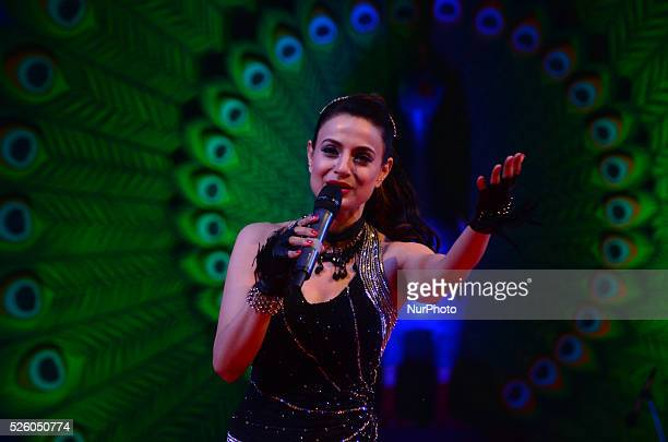 Indian famous bollywood actress Amisha Patel performs dance during concluding ceremony of 'Triveni Mahotsava' a cultural event on the banks of River...