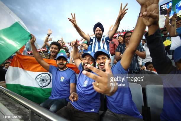 Indian fans are pictured during game two of the International T20 Series between the New Zealand Black Caps and India at Eden Park on February 08...