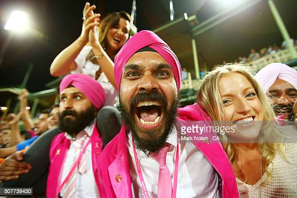 Indian fans celebrate after India won the International Twenty20 match between Australia and India at Sydney Cricket Ground on January 31 2016 in...