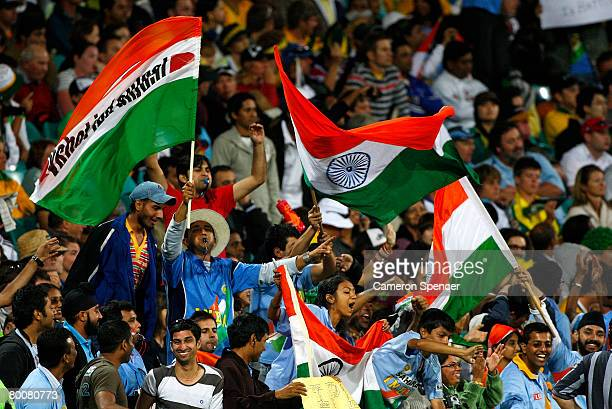 Indian fans celebrate after winning the Commonwealth Bank One Day International Series first final match between Australia and India at the Sydney...