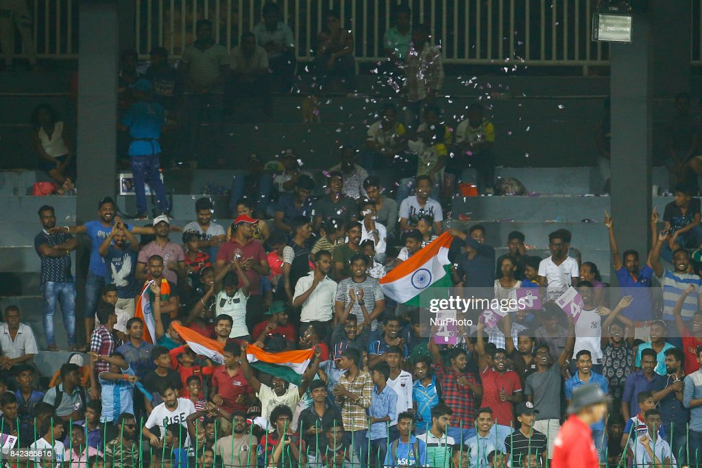 Indian fans celebrate Indian cricket team's win the 5th and final One Day International cricket match between Sri Lanka and India at the R Premadasa international cricket stadium at Colombo, Sri Lanka on Sunday 3 September 2017.