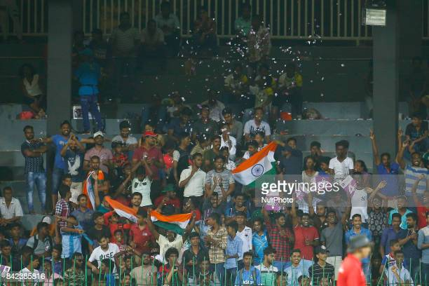Indian fans celebrate Indian cricket team's win the 5th and final One Day International cricket match between Sri Lanka and India at the R Premadasa...