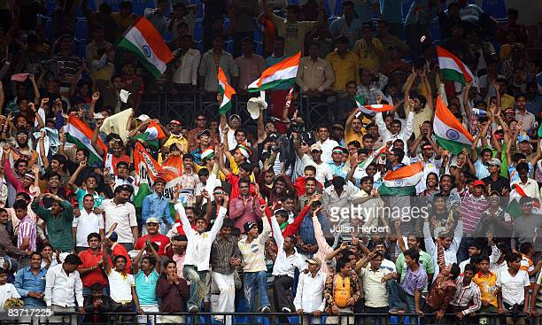 Indian fans celebrate there teams victory in 2nd One Day International between India and England played at The Maharani Usharaje Trust Cricket Ground...