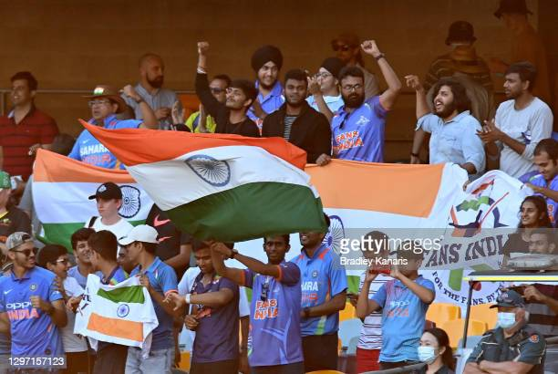 Indian fans celebrate victory after day five of the 4th Test Match in the series between Australia and India at The Gabba on January 19, 2021 in...