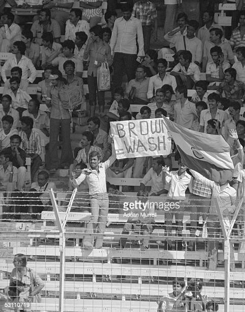 Indian fans celebrate victory during the First Test match between India and England held on December 3 1984 at the Wankhede Stadium in Bombay India