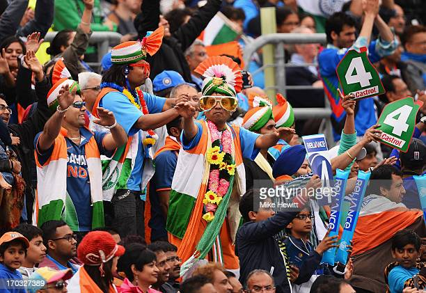 Indian fans cheer another boundary from their openers during the ICC Champions Trophy Group B match between India and West Indies at The Kia Oval on...