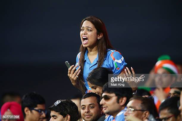 Indian fans enjoy the action during the International Twenty20 match between Australia and India at Sydney Cricket Ground on January 31 2016 in...