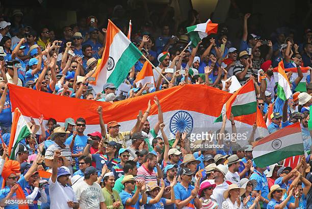 Indian fans in the crowd show their support during the 2015 ICC Cricket World Cup match between India and Pakistan at Adelaide Oval on February 15...
