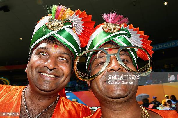 Indian fans show their colours during the 2015 Cricket World Cup Semi Final match between Australia and India at Sydney Cricket Ground on March 26...