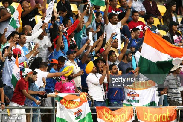 Indian fans show their support during game five in the One Day International series between New Zealand and India at Westpac Stadium on February 03...