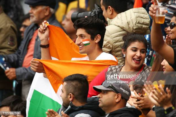 Indian fans show their support during game one of the International T20 Series between the New Zealand White Ferns and India at Westpac Stadium on...