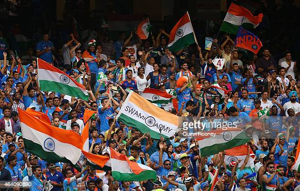 Indian fans show their support during the 2015 ICC Cricket World Cup match between South Africa and India at Melbourne Cricket Ground on February 22...