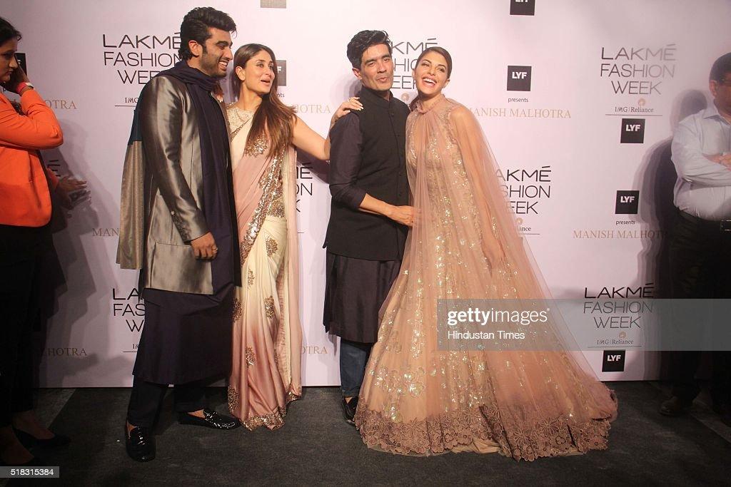 Indian Fashion designer Manish Malhotra with Bollywood actors Kareena Kapoor Khan Arjun Kapoor and Jacqueline Fernandez during the opening show of...