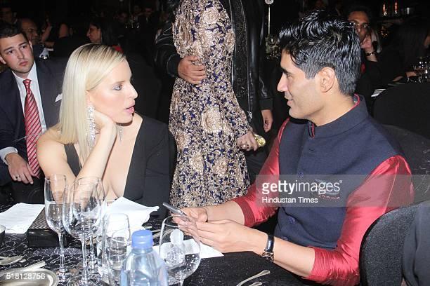 Indian Fashion Designer Manish Malhotra with Czech model and actress Karolina Kurkova during the MINT Luxury Conference at Grand Hyatt Santacruz on...