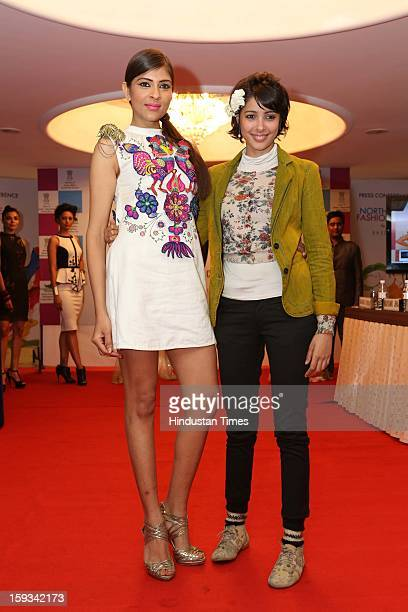 Indian fashion designer Nida Mahmood with model during curtain raiser in the capital, on the upcoming North East Fashion Fest 2013 to be held in...