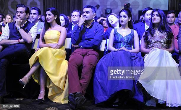 Indian Fashion designer Raghavendra Rathore Arjuna award winner Adhiraj Singh Bollywood actors Yami Gautam Nimrat Kaur and Pallavi Sharda during the...