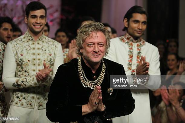 Indian Fashion Designer Rohit Bal during his show on the day 5 of FDCI India Couture Week 2016 at the Taj Palace Hotel on July 24 2016 in New Delhi...